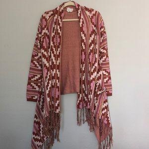 Billabong Aztec Fringe Cardigan Sweater